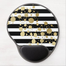 Faux Gold Paint Splatter On Black & White Stripes Gel Mouse Pad at Zazzle