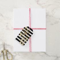 Faux Gold Paint Splatter on Black & White Stripes Gift Tags