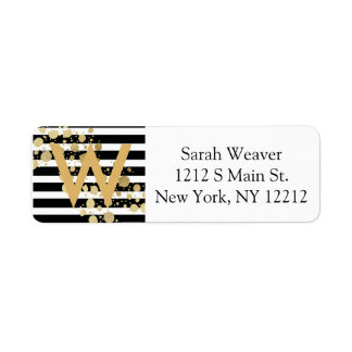 Faux Gold Paint Splatter on Black & White Stripes Label