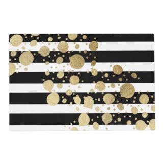Faux Gold Paint Splatter on Black & White Stripes Placemat