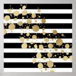 Faux Gold Paint Splatter on Black & White Stripes Poster