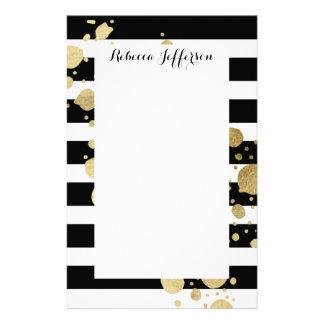 Faux Gold Paint Splatter on Black & White Stripes Stationery