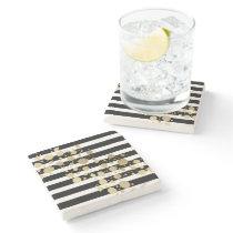 Faux Gold Paint Splatter on Black & White Stripes Stone Coaster