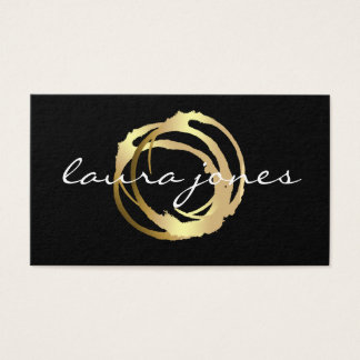 Faux Gold Painted Circle Designer Business Card