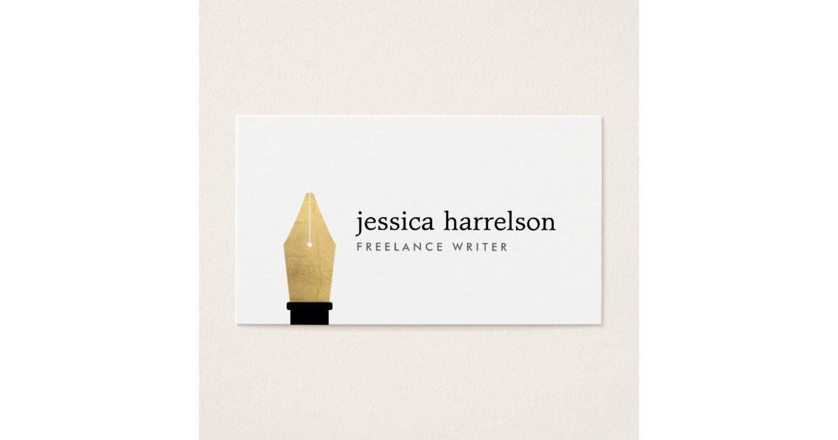 Faux gold pen nib logo for writers authors business card zazzle colourmoves Images