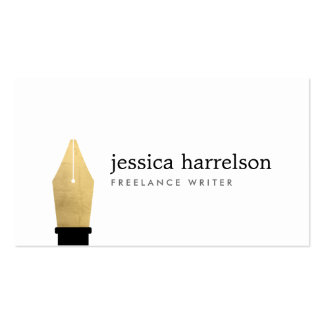 Faux Gold Pen Nib Logo for Writers, Authors Double-Sided Standard Business Cards (Pack Of 100)