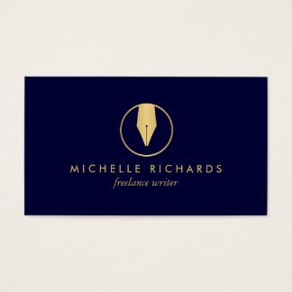 Faux Gold Pen Nib Logo on Dark Navy for Writers Business Card