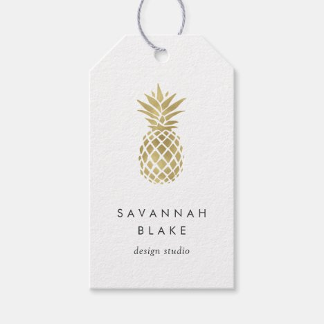 Faux Gold Pineapple Gift Tags