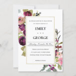 FAUX GOLD PINK BURGUNDY ROSE FLORAL WEDDING INVITE