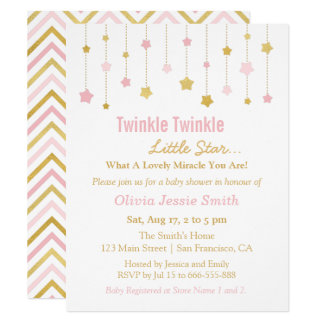 Faux Gold Pink Twinkle Twinkle Little Star Baby Card