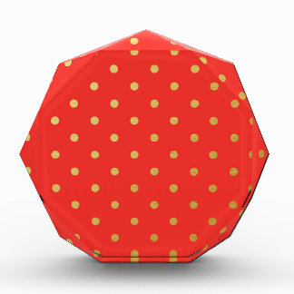Faux Gold Polka Dots Red Metallic Acrylic Award