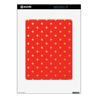 Faux Gold Polka Dots Red Metallic Decal For iPad