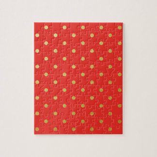 Faux Gold Polka Dots Red Metallic Jigsaw Puzzle