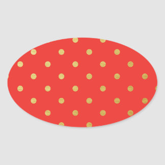 Faux Gold Polka Dots Red Metallic Oval Sticker