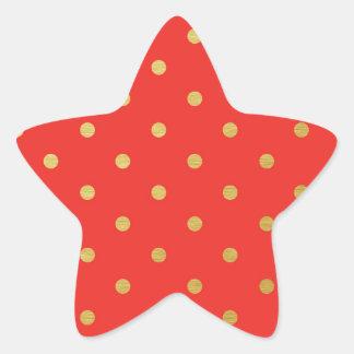 Faux Gold Polka Dots Red Metallic Star Sticker