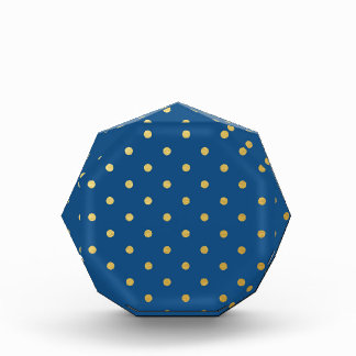 Faux Gold Polka Dots Royal Blue Metallic Award