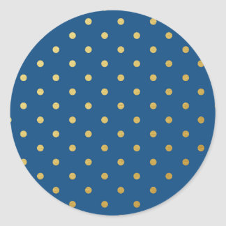 Faux Gold Polka Dots Royal Blue Metallic Classic Round Sticker