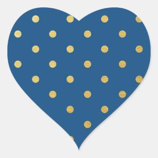 Faux Gold Polka Dots Royal Blue Metallic Heart Sticker