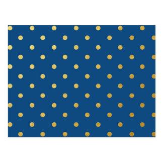 Faux Gold Polka Dots Royal Blue Metallic Postcard