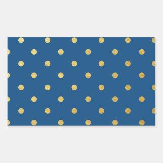 Faux Gold Polka Dots Royal Blue Metallic Rectangular Sticker