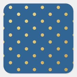 Faux Gold Polka Dots Royal Blue Metallic Square Sticker
