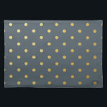 "Faux Gold Polka Dots Slate Gray Metallic Cloth Placemat<br><div class=""desc"">Faux Gold Polka Dots Slate Gray Metallic</div>"