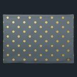 "Faux Gold Polka Dots Slate Gray Metallic Cloth Placemat<br><div class=""desc"">Faux Gold Polka Dots Slate Gray Metallic</div>"