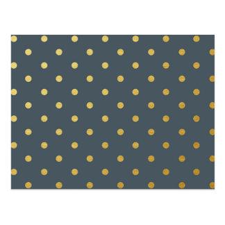 Faux Gold Polka Dots Slate Gray Metallic Postcard