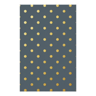 Faux Gold Polka Dots Slate Gray Metallic Stationery