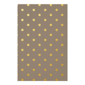 Faux Gold Polka Dots Taupe Metallic Stationery