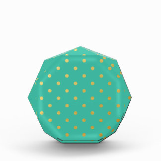 Faux Gold Polka Dots Teal Metallic Acrylic Award
