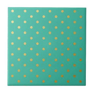 Faux Gold Polka Dots Teal Metallic Tile