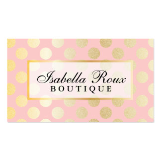 Faux Gold Polka Dots with Citrus Pink w Nameplate Business Card