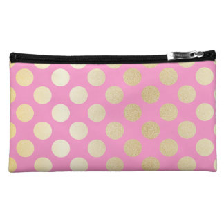 Faux Gold Polka Dots with Pink Cosmetics Bags