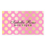 Faux Gold Polka Dots with Pink Business Cards