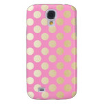 Faux Gold Polka Dots with Pink Samsung Galaxy S4 Cases