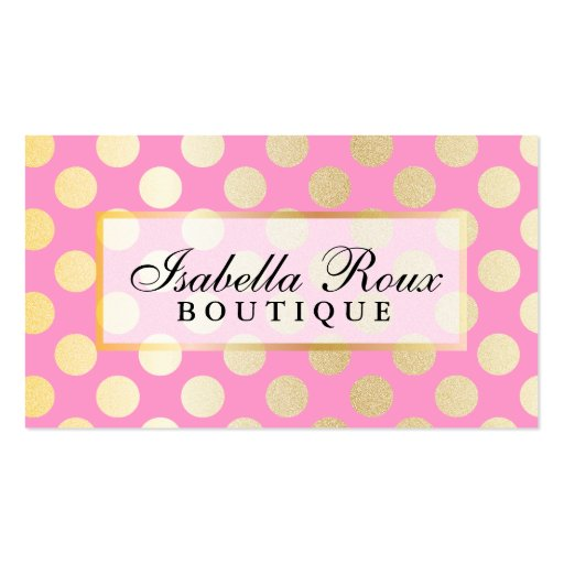 Faux Gold Polka Dots with Pink w Nameplate Business Card Template