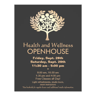 Faux Gold Prosperity Tree Health and Wellness Flyer