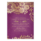Faux gold purple elegant vintage lace wedding card