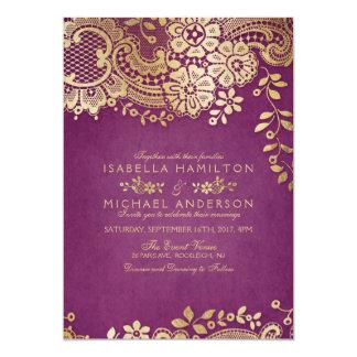 Faux gold purple elegant vintage lace wedding card