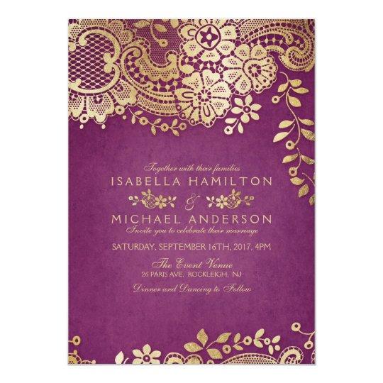 Elegant Purple Wedding Invitations: Faux Gold Purple Elegant Vintage Lace Wedding Invitation