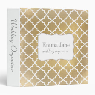 Faux gold quatrefoil wedding organizer 3 ring binder
