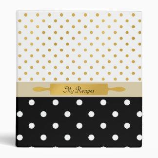 FAUX Gold Rolling Pin Baking Recipe and Polka Dots 3 Ring Binder