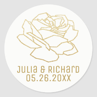faux gold rose flower with names, white classic round sticker