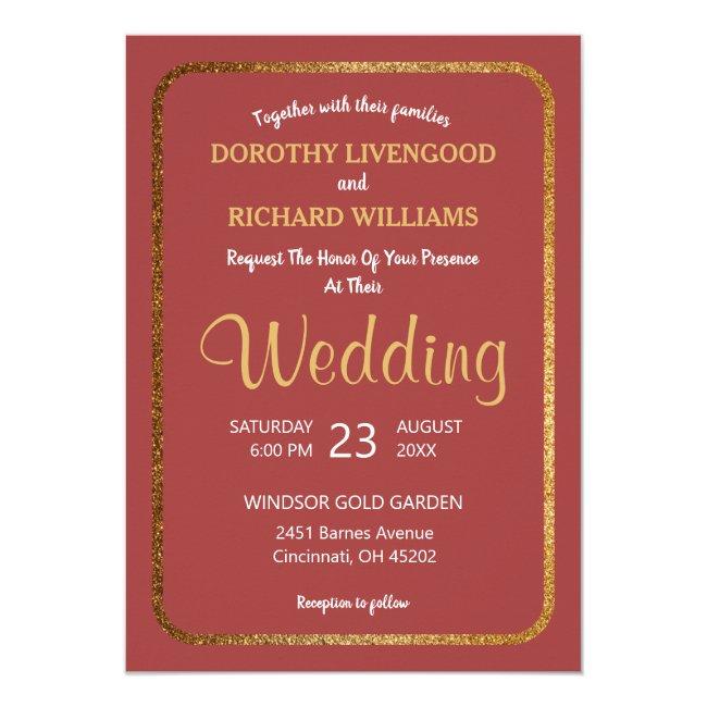 Faux Gold Rose Modern Elegant Wedding Invitation