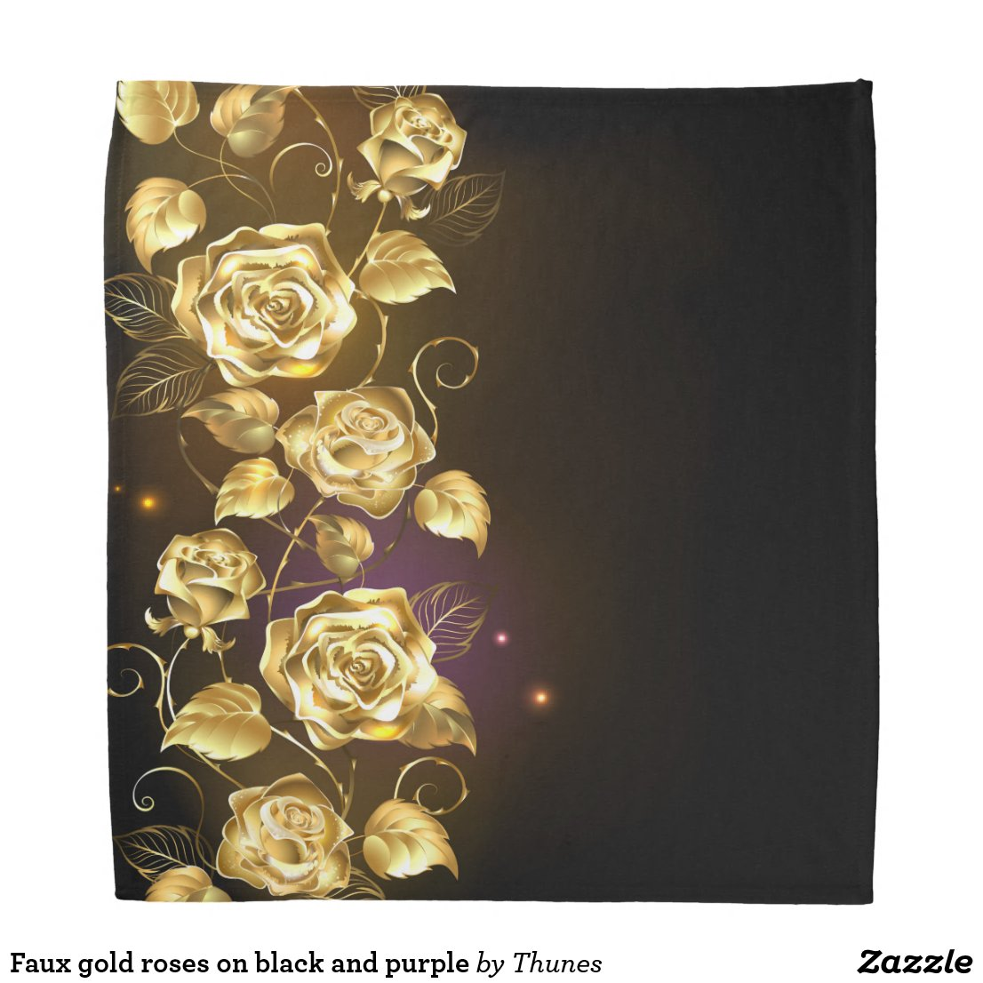 Faux gold roses on black and purple bandana