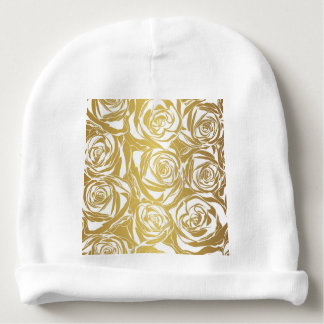 faux gold,roses,pattern,art deco,beautiful,chic,el baby beanie