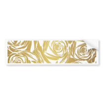 faux gold,roses,pattern,art deco,beautiful,chic,el bumper sticker