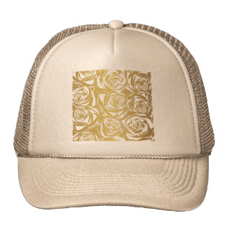 faux gold,roses,pattern,art deco,beautiful,chic,el trucker hat