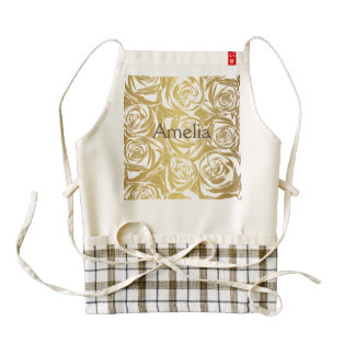 faux gold,roses,pattern,art deco,beautiful,chic,el zazzle HEART apron